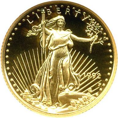 sample image for 1992-P Gold Eagle $5  PR DCAM