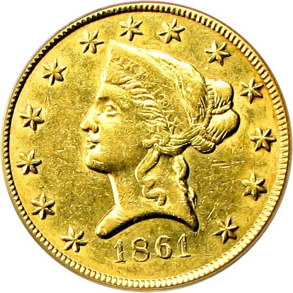 sample image for 1861 $10 Clark Gruber