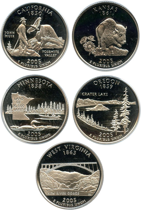 sample image for 2005-S Clad Quarters Proof Set 25c PR DCAM 5 Coins