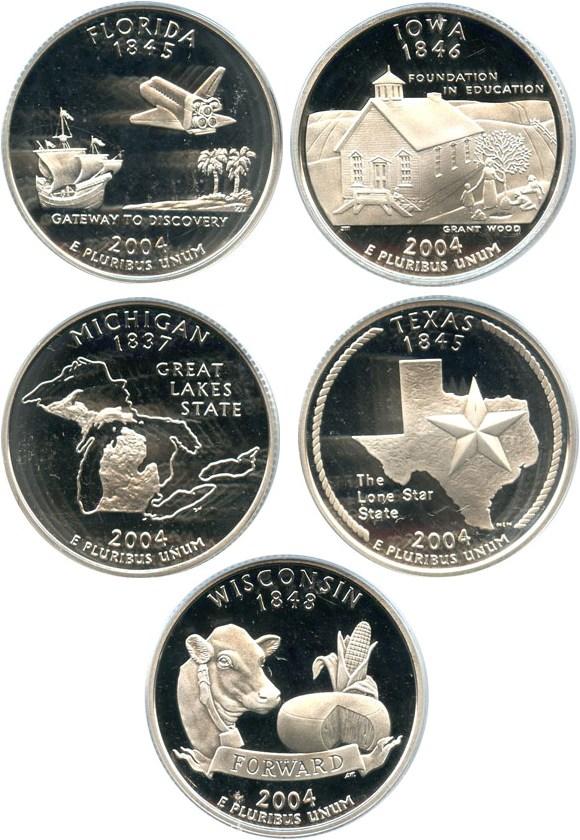sample image for 2004-S Silver Quarters Proof Set 25c PR DCAM 5 Coins