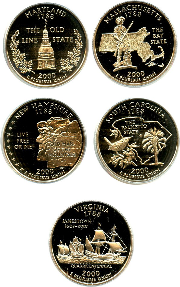 sample image for 2000-S Clad Quarters Proof Set 25c PR DCAM 5 Coins