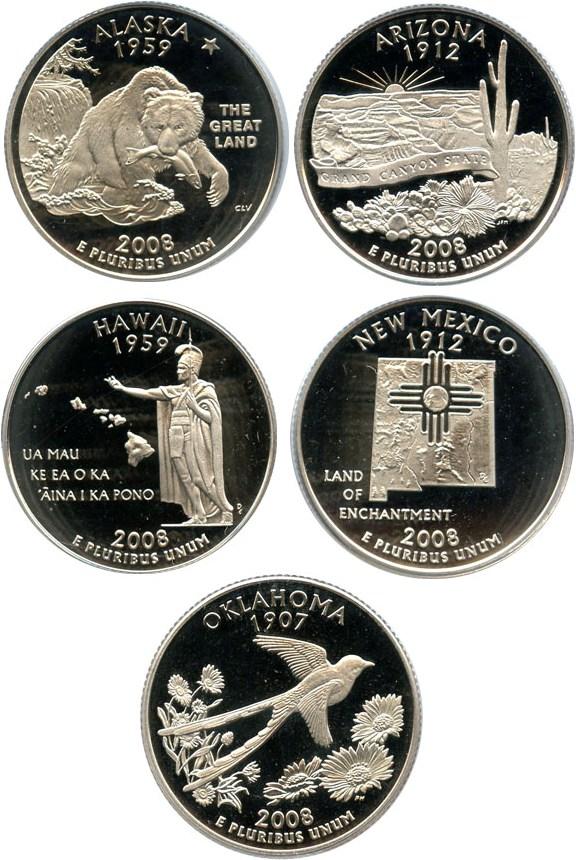 sample image for 2008-S Clad Quarters Proof Set 25c PR DCAM 5 Coins