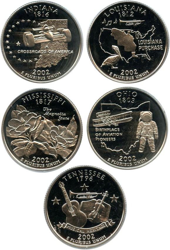 sample image for 2002-S Clad Quarters Proof Set 25c PR DCAM 5 Coins