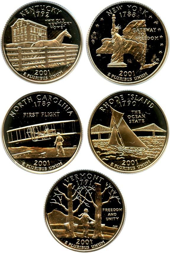 sample image for 2001-S Clad Quarters Proof Set 25c PR DCAM 5 Coins