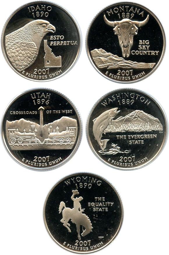 sample image for 2007-S Clad Quarters Proof Set 25c PR DCAM 5 Coins