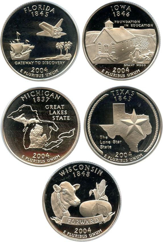 sample image for 2004-S Clad Quarters Proof Set 25c PR DCAM 5 Coins