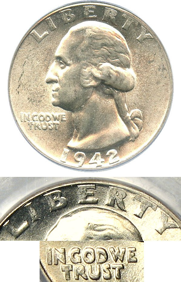 sample image for 1942-D 25c MS Doubled Die Obverse