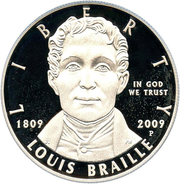sample image for 2009-P Louis Braille $1  PR DCAM