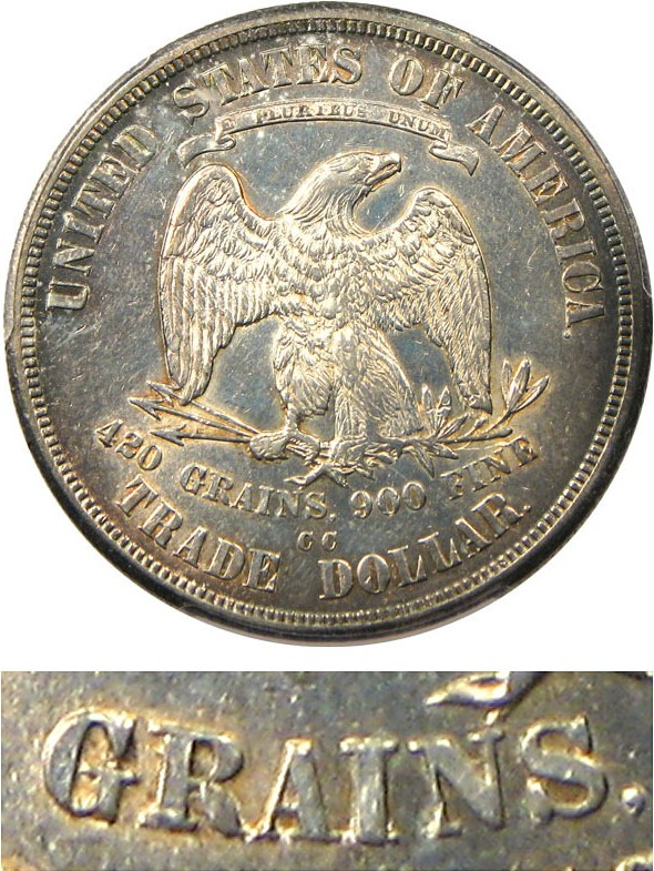 sample image for 1876-CC Trade$ MS Doubled Die Reverse