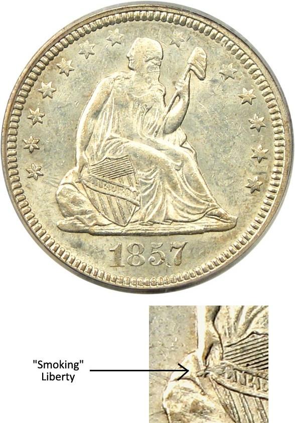 sample image for 1857 25c MS Smoking Liberty