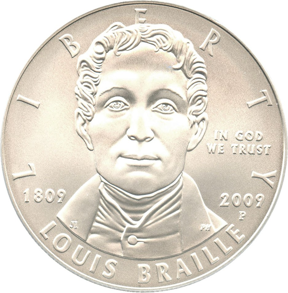 sample image for 2009-P Louis Braille $1  MS