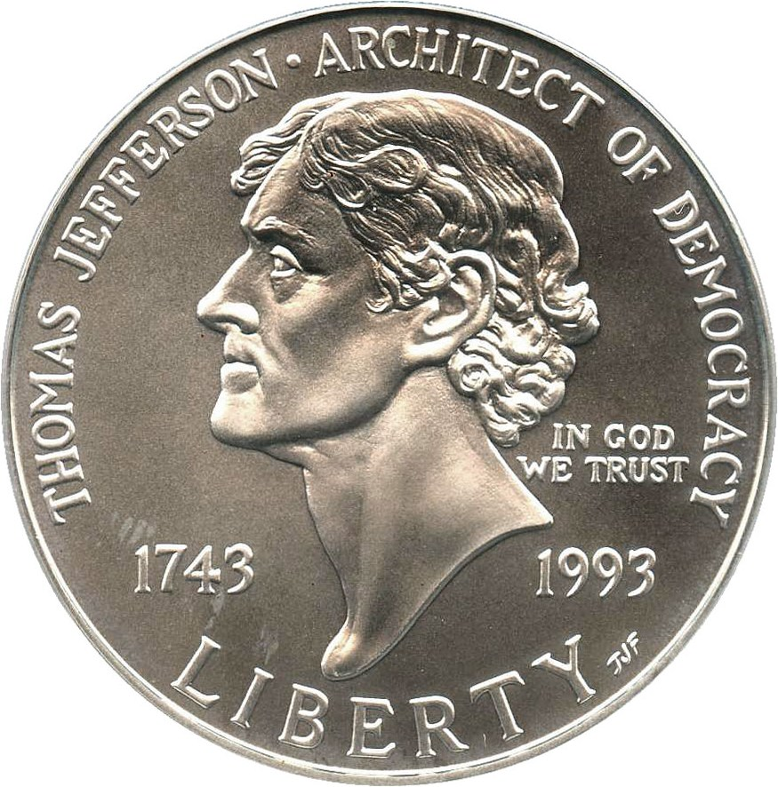 sample image for 1993-P Jefferson $1  MS