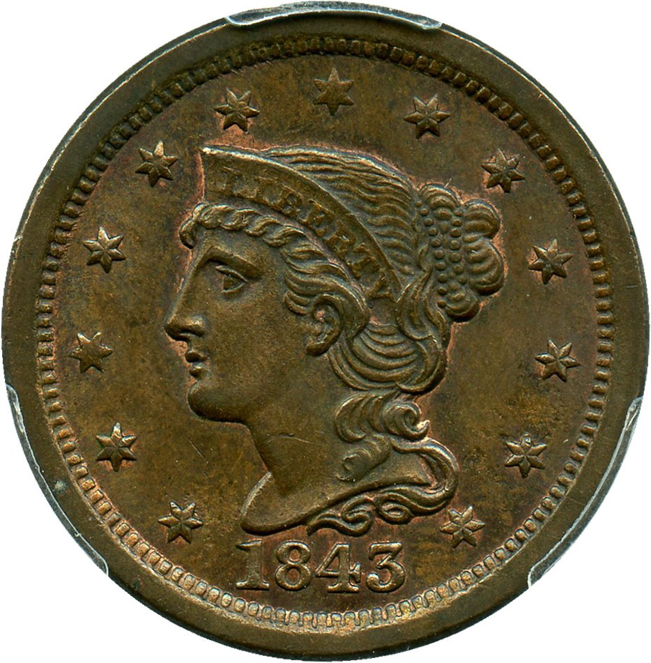 sample image for 1843 1c MS BN Mature Head, Large Letters