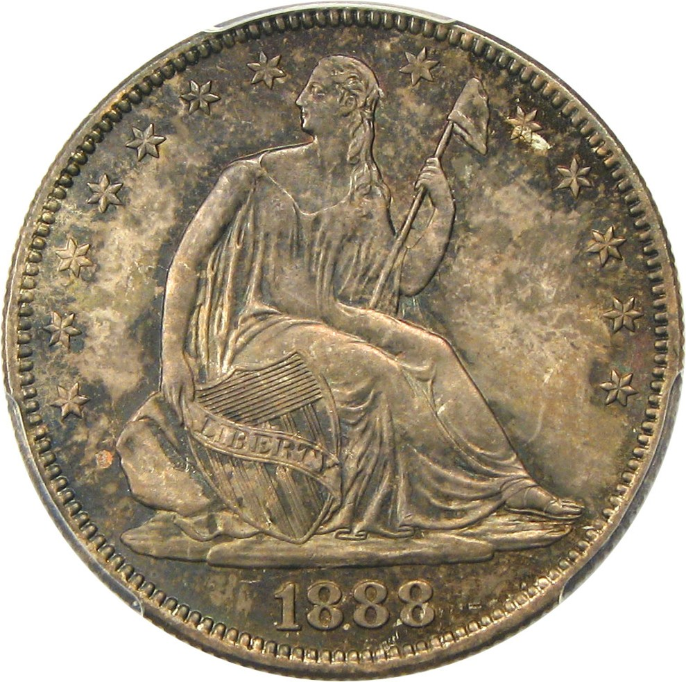 Scarce Low Mintage Date Liberty Seated Half Dollar 1888 50c Pcgs Ms65