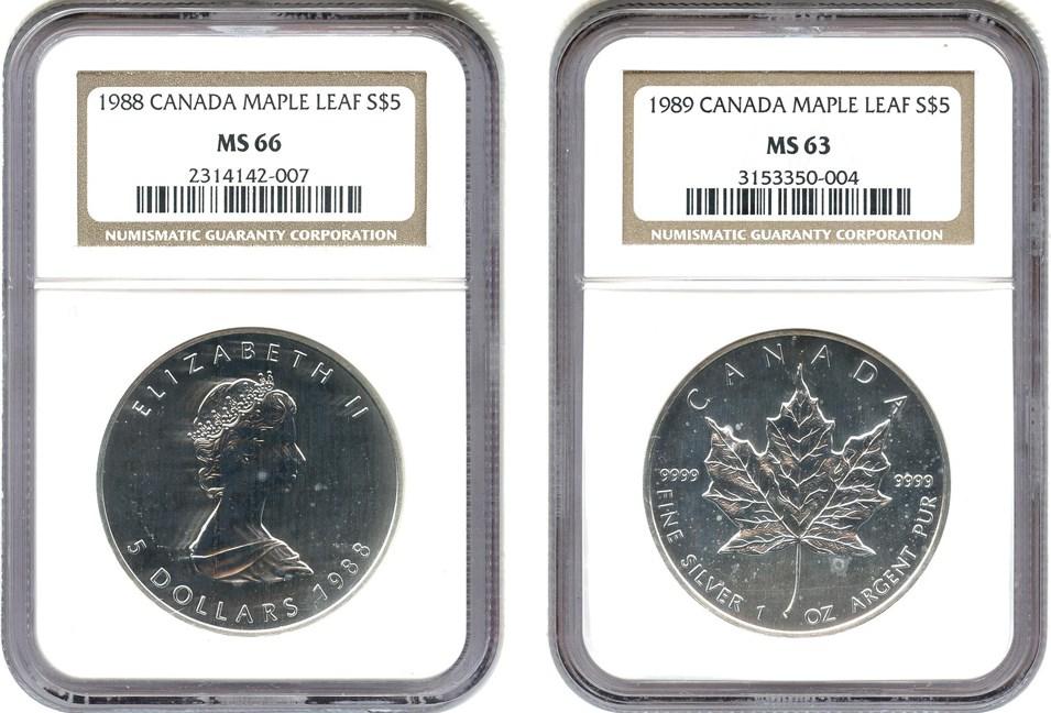 sample image for 1988 Maple Leaf $5  MS