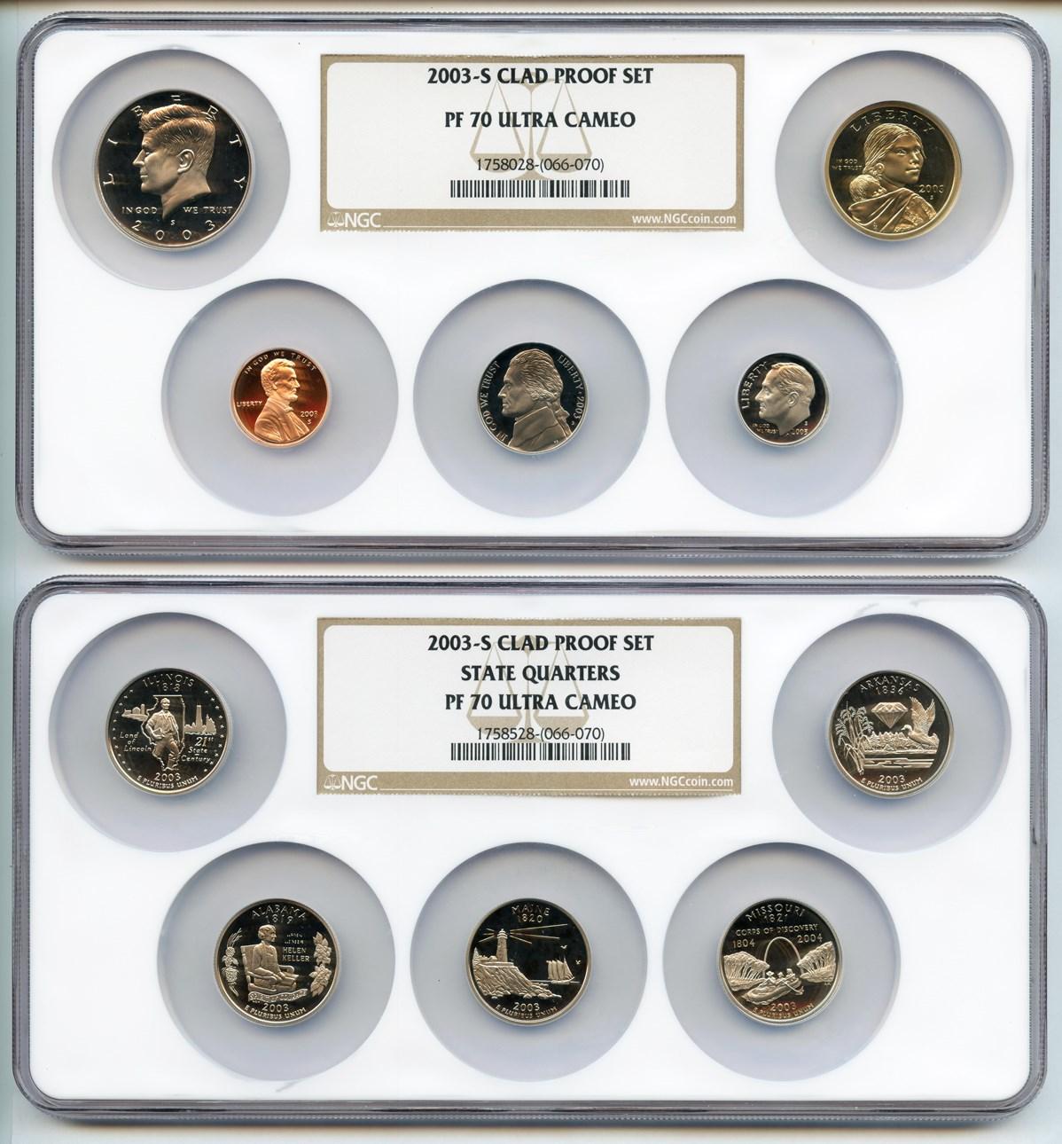 sample image for 2003-S Proof Set 1c-$1 PR DCAM 10 Coins