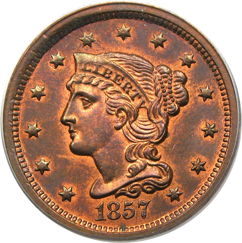 sample image for 1857 1c MS RB Small Date