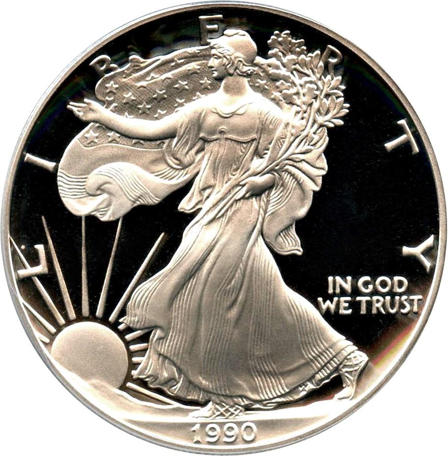 sample image for 1990-S Silver Eagle $1  PR DCAM