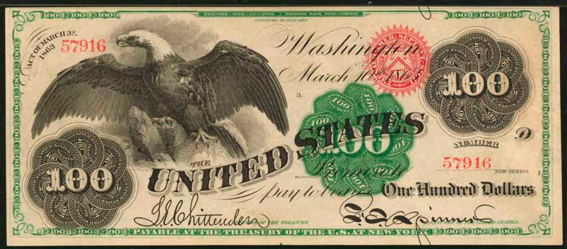 sample image for 1863 $100  Seal Type 2 (Fr.# 167a)