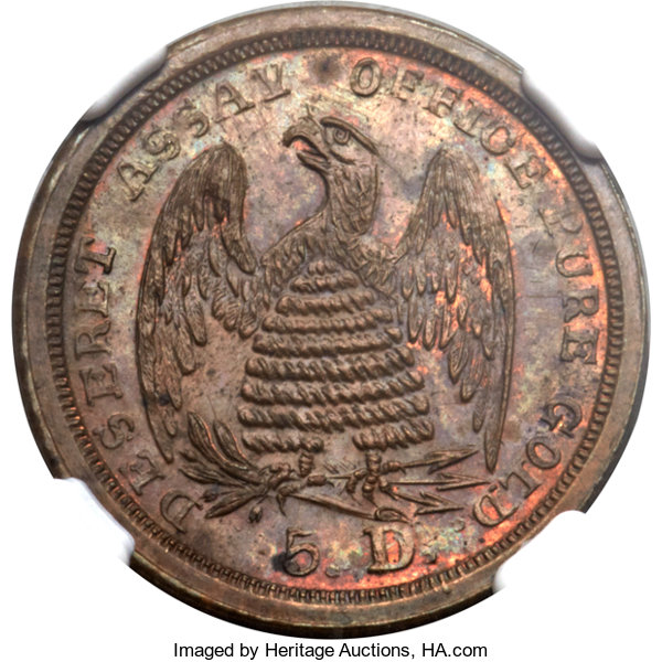 sample image for 1860 $5 Mormon, Copper Unif. Res RB (K-8a) RB