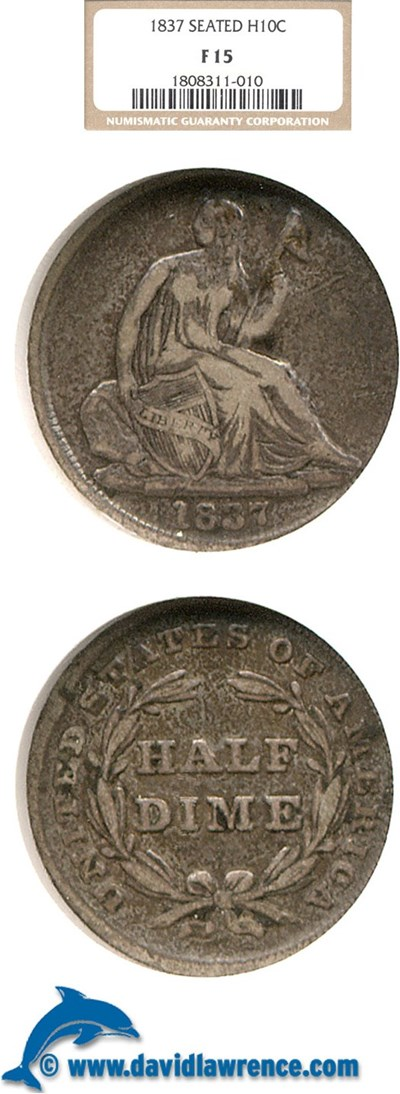Image of 1837 H10c Seated NGC F15