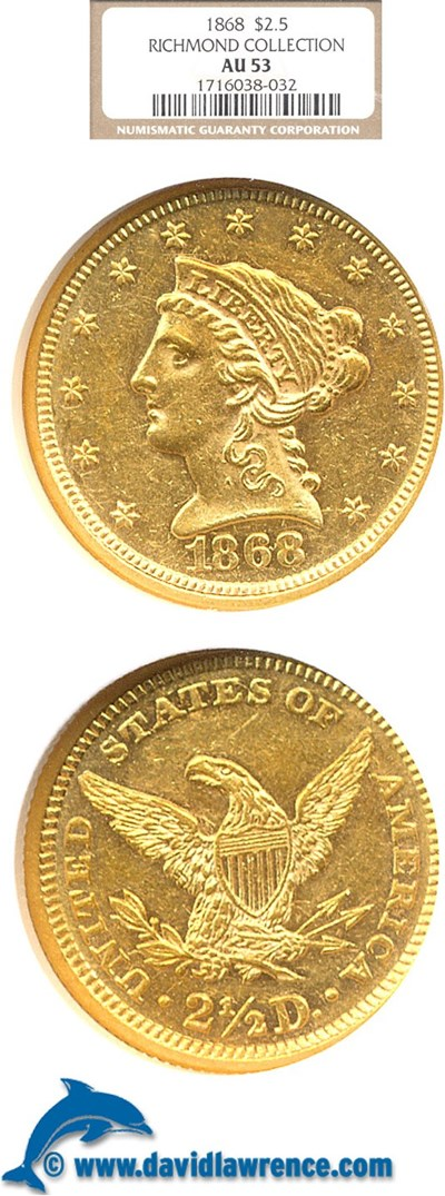 Image of 1868 $2 1/2  NGC AU53 ex: Richmond Collection