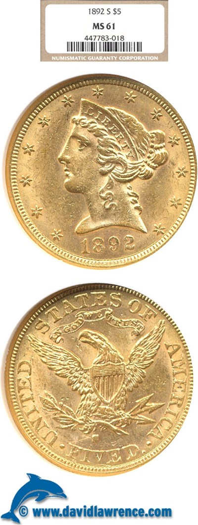 Image of 1892-S $5  NGC MS61