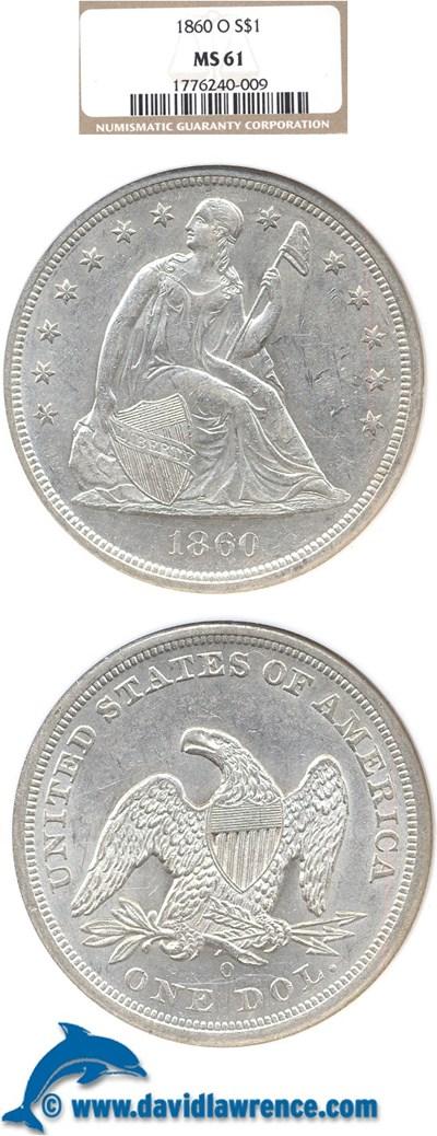 Image of 1860-O $1  NGC MS61