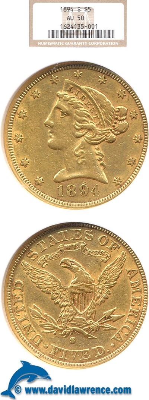 Image of 1894-S $5  NGC AU50
