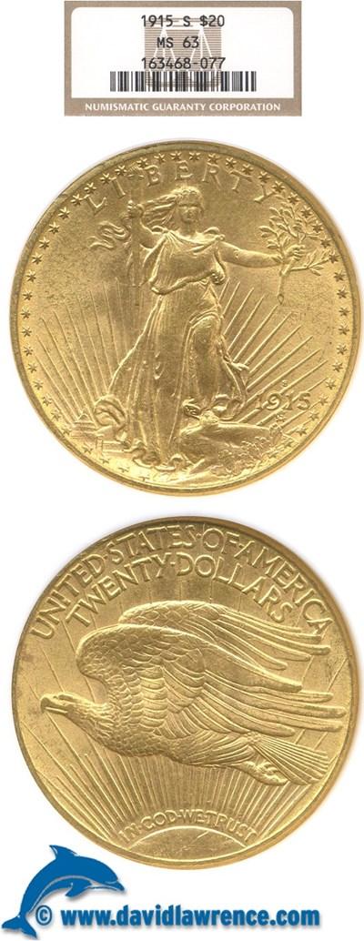 Image of 1915-S $20  NGC MS63