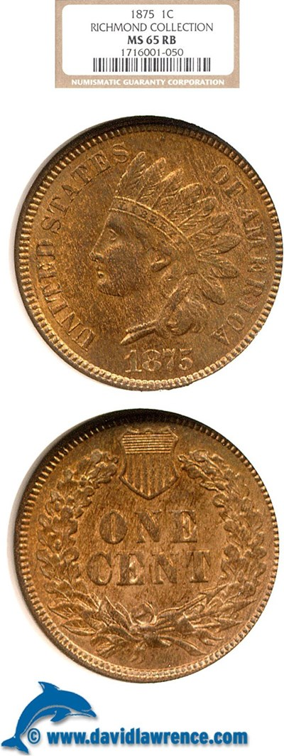 Image of 1875 1c  NGC MS65 RB ex: Richmond Collection