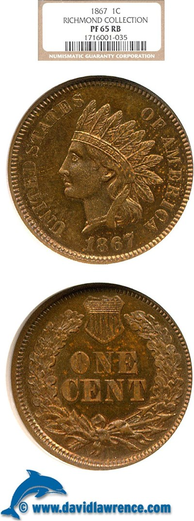 Image of 1867 1c  NGC Proof 65 RB ex: Richmond Collection