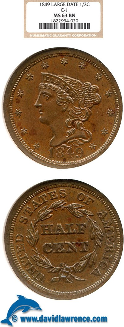Image of 1849 1/2c  Large Date NGC MS63 BN (C-1)