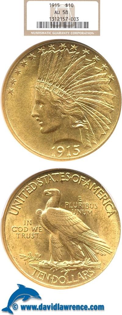 Image of 1915 $10  NGC AU58