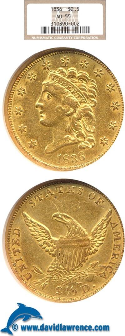 Image of 1836 $2 1/2  NGC AU55