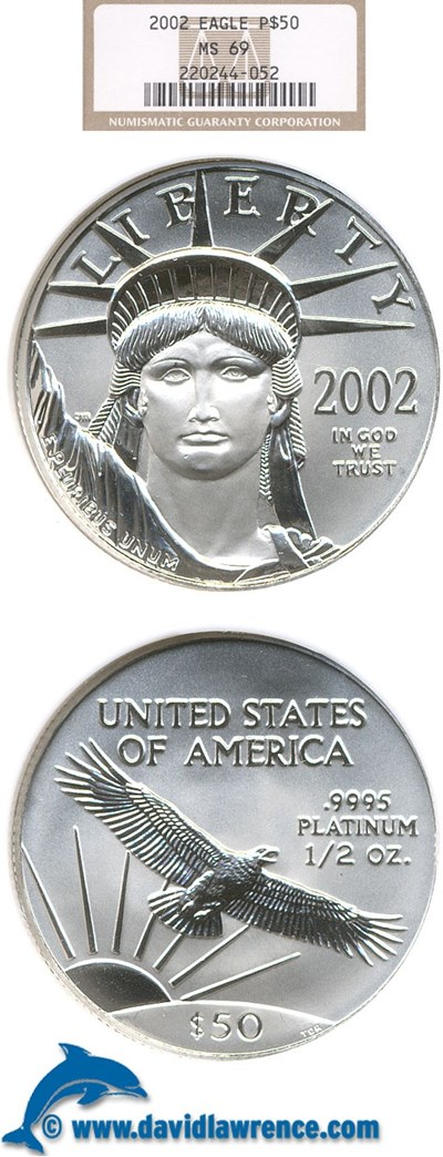 Image of 2002 $50 Platinum Eagle NGC MS69
