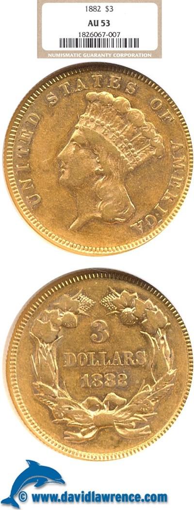 Image of 1882 $3  NGC AU53