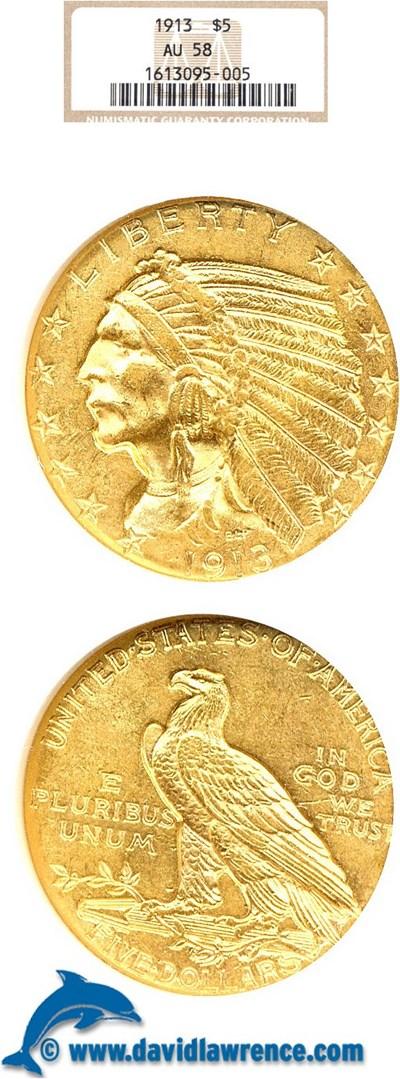 Image of 1913 $5  NGC AU58