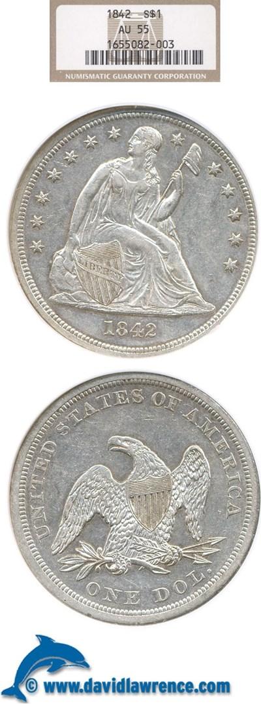 Image of 1842 $1  NGC AU55