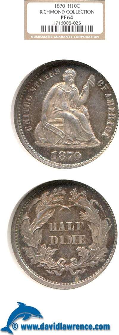 Image of 1870 H10c  NGC Proof 64 ex: Richmond Collection