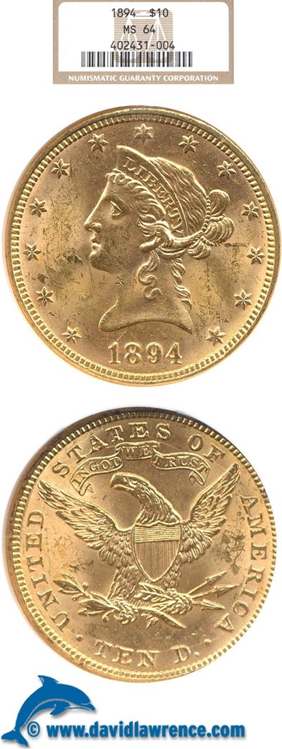 Image of 1894 $10  NGC MS64