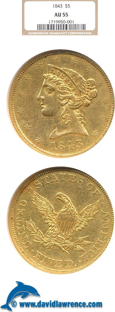 Image of 1843 $5  NGC AU55