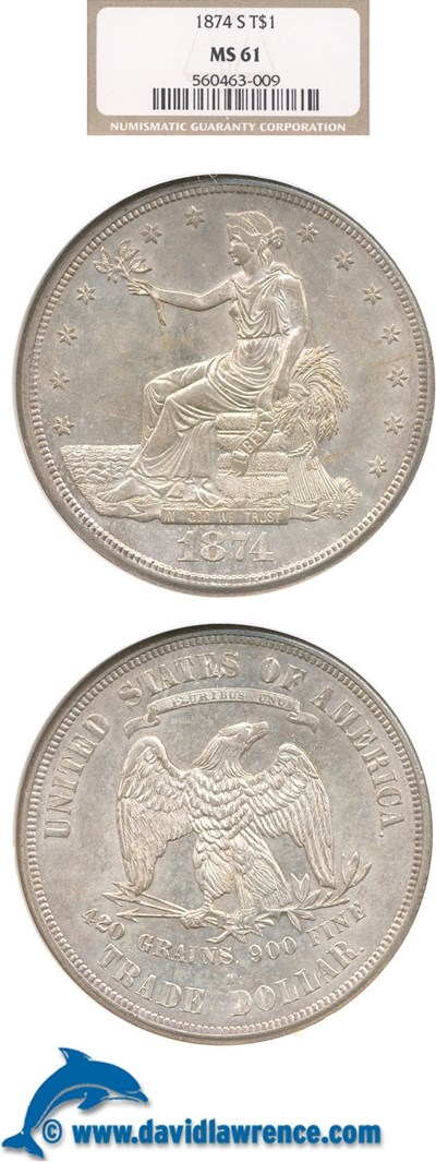 Image of 1874-S Trade$  NGC MS61