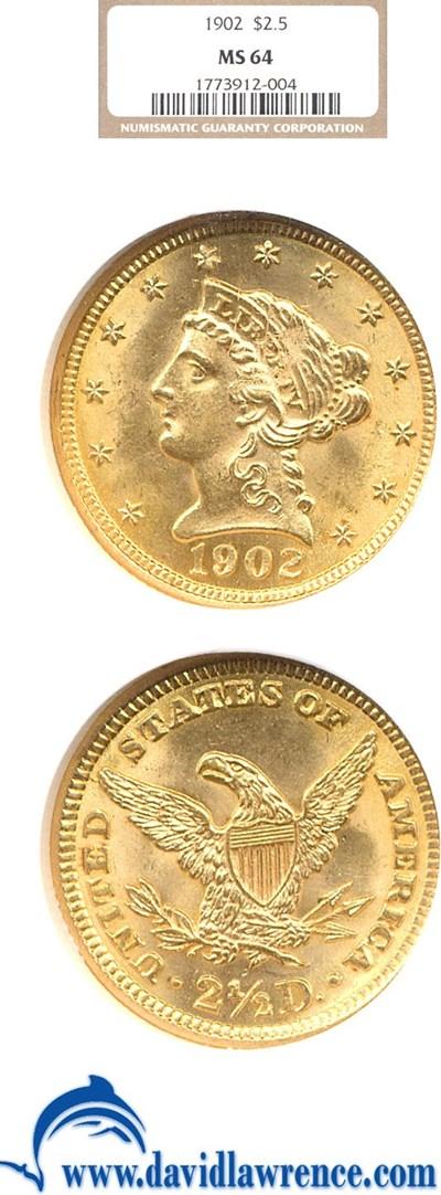 Image of 1902 $2 1/2  NGC MS64