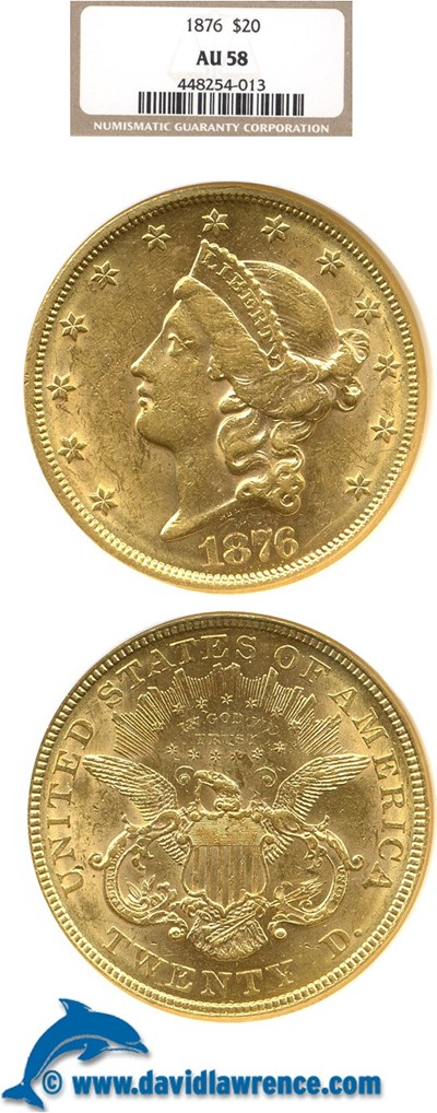 Image of 1876 $20  NGC AU58