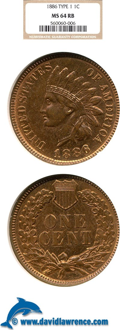 Image of 1886 1c  NGC MS64 RB