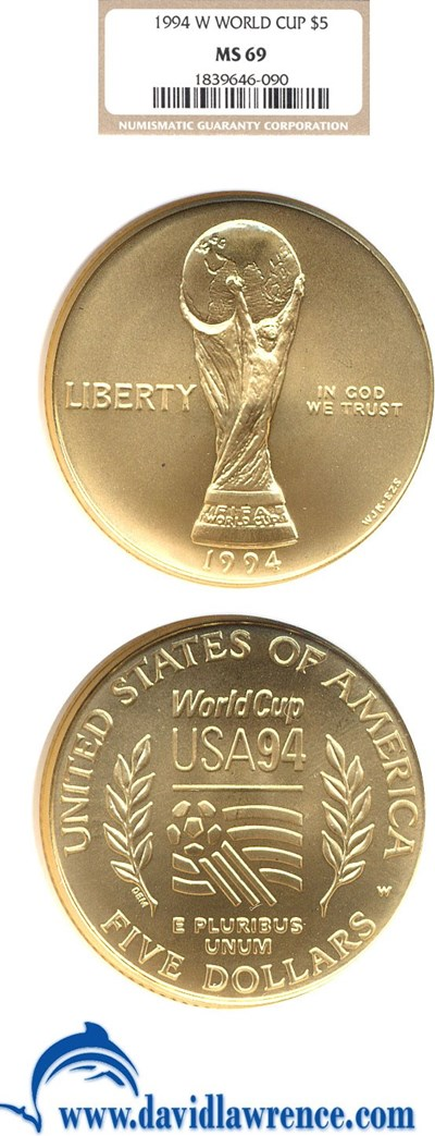 Image of 1994-W $5 World Cup NGC MS69