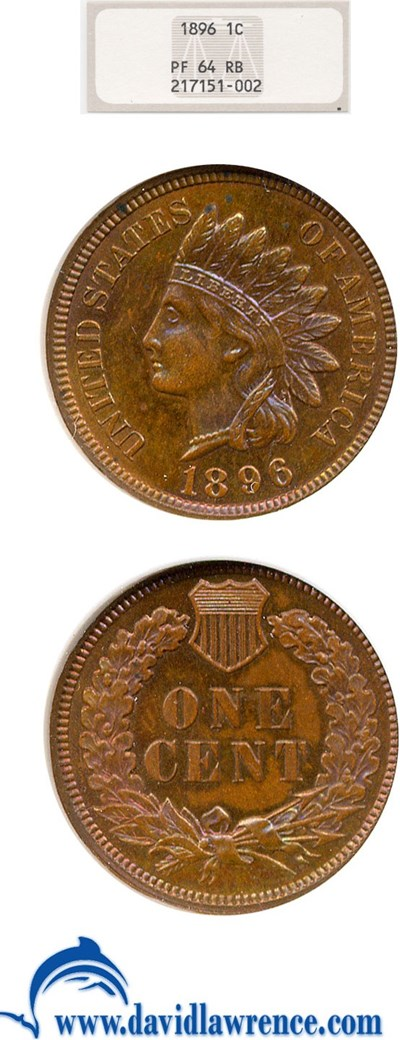 Image of 1896 1c  NGC Proof 64 RB ** Color **