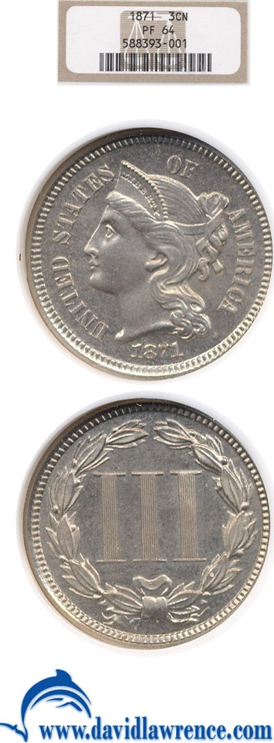 Image of 1871 3cN  NGC Proof 64