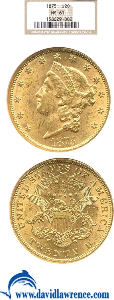 Image of 1875 $20  NGC MS61